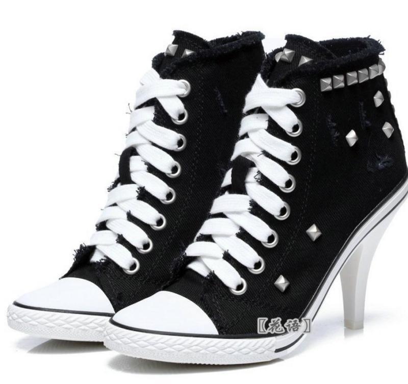 Para mujeres Zapatos Tacón Alto Con Cordones De Zapatos Taco Taco Taco aguja Zapatos de Lona Tenis Bombas Remache Tachonado Denim  genuina alta calidad