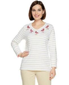 Quacker-Factory-Size-3X-Khaki-Flamingo-3-4-length-sleeves-V-neck-Top