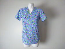 Zoe + Chloe XS Frogs Butterflies Blue Womens Scrub Top Fun Cute Medical Uniform
