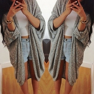 Hot Ladies Women Open Front Trench Cardigan Jacket Long Coat Top Overcoat Gray