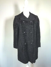 Vintage Black Persian Curly Lamb Fur Coat mid length by Chudiks Birmingham Retro