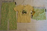 John Deere Gilrs 2t Or 4t Choice Yellow Print Pajama Pant Shorts Shirt Sleepwear