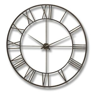 Details About Large Bronze Brown Round Metal Skeleton Roman Numeral Wall Clock H15590