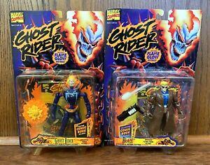 Explodierende-Ghost-Rider-amp-Blaze-Vintage-Actionfiguren-Lot-New-1996-Toybiz-Marvel