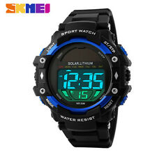 SKMEI 1129 LED Digital Solar Power Multi-function Waterproof Men Sport Wrist Wat