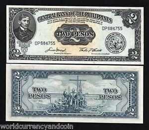 PHILIPPINES-2-PESOS-P134-1949-RIZAL-BOAT-CROSS-UNC-MONEY-BILL-PHILIPINO-BANKNOTE