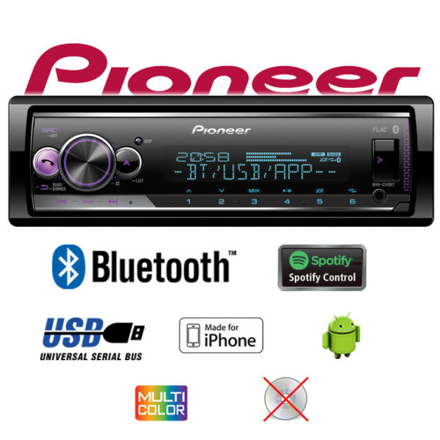 Pionero MVH-S510BT Bluetooth Spotify MP3 USB Android IPHONE Multicolor Autoradio