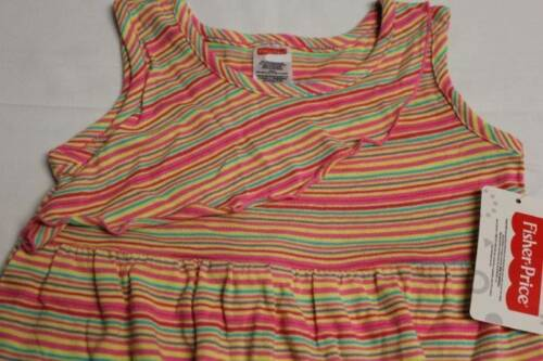 NEW Toddler Girls Sun Dress Size 4T Pink Yellow Stripe Fisher Price Summer