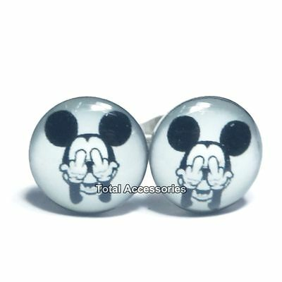 Cheeky Rude Middle Finger Mouse Stainless Steel Stud Earrings - New