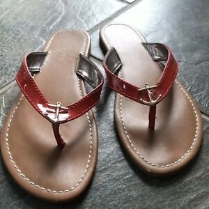 Talbots-Red-Patent-Anchor-Sandals-Size-7