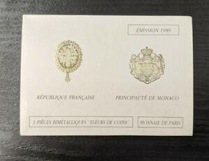 France-amp-Monaco-Monnaie-de-Paris-Coffret-FDC-3-x-10-Francs-1989-avec-Montesquieu