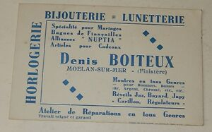 Ancienne CARTE De VISITE HORLOGERIE BIJOUTERIE LUNETTERIE Denis