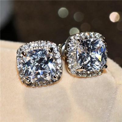 Luxurious Princess Cut Square Stud Earring Silver Women Wedding q