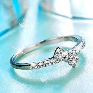 18K-White-Gold-GF-women-039-s-wedding-Ring-Simulated-Diamond-slim-bow-fashion