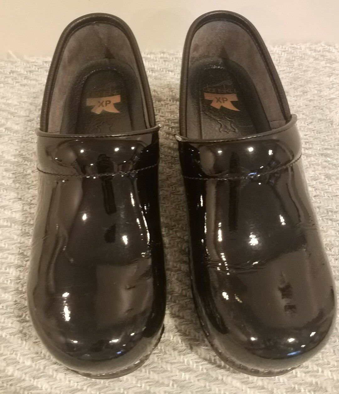 Dansko PROFESSIONAL PATENT BLACK Womens Leather Slip On Clog Shoes Size 38