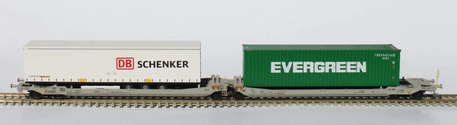 Rocky Rail 90361 doppio autorello portante Trailers DB Schenker  container Eververde Nuovo