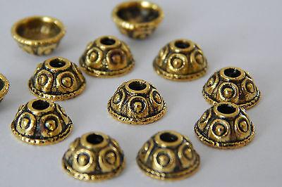 100 / 200 Perlenkappen 8mm Metall gold antik Hütchen Häubchenform Perlkappen