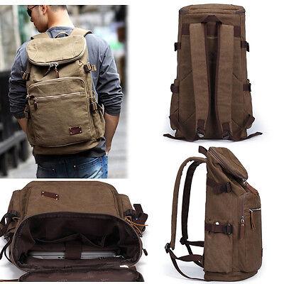 Men's Vintage Canvas Travel School Laptop Backpack Camping Rucksack Bag Satchel