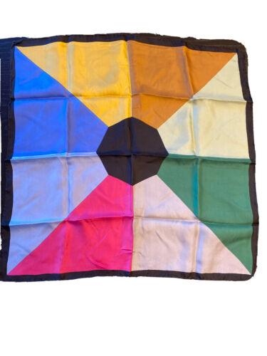 Vintage 1970's Color Block Multi Color Silk Scarf