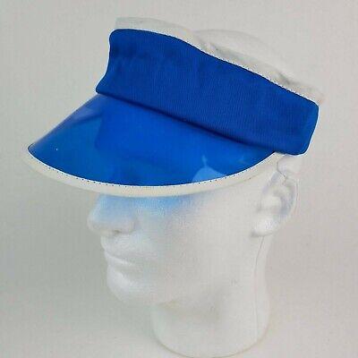 White plastic poker dealer sun visor Size Large Hat Vintage NOS 1980s Blue