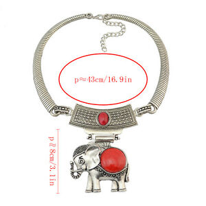 New-Fashion-4-Colors-Silver-plated-Turquoise-Elephant-Pendant-Necklace-Jewelry