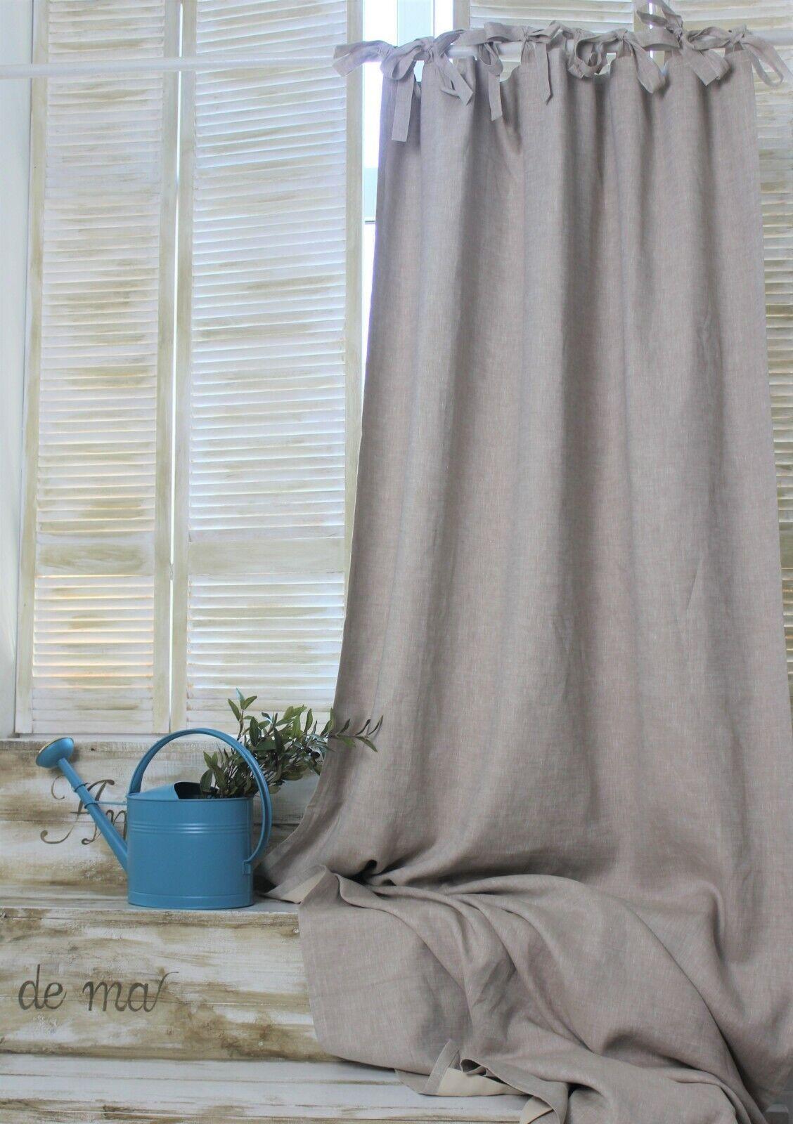 Lino cortina trabillas tupido forro con bucles arriba-anchura 135 cm