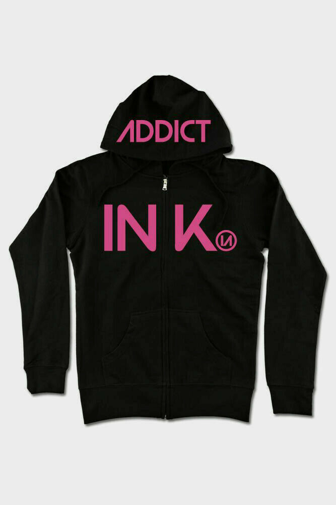 BRAND NEW INK Addict INK ZIP MID WEIGHT Hoodie BLACK / PINK SMALL-3XLARGE TATTOO