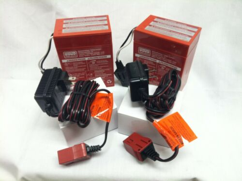 Power Wheels 00801-0712 Two (2x) 6V RED Batteries & (2x) TWO 6v Chargers