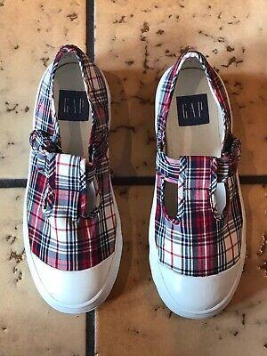 T-Strap Canvas Red Plaid Shoes Sz