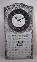 Metal Antique Style Perpetual Wall Mount Calendar And Clock 12 X 23.5