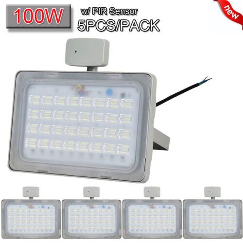 5X 100W LED PIR Motion Sensor Flood Light Cool White Outdoor Security Spot Lamp
