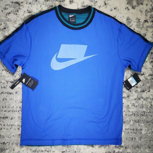 NIKE Men's Sportswear Medium NSW NSP Plaid & Blue T-Shirt Mesh BV4544-480