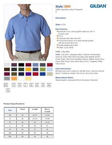 ss-GILDAN-3800-Mens-Size-S-5XL-100-COTTON-Pique-Knit-Polo-Sport-Shirt