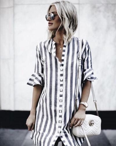 Damen Kleider V-Ausschnitt Gestreiftes Hemd Kurzarm beiläufige Bluse Tops Dress