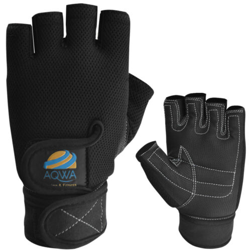 AQWA Weight Lifting Gloves Gym Training Leather Mesh Fitness Workout Glove Black