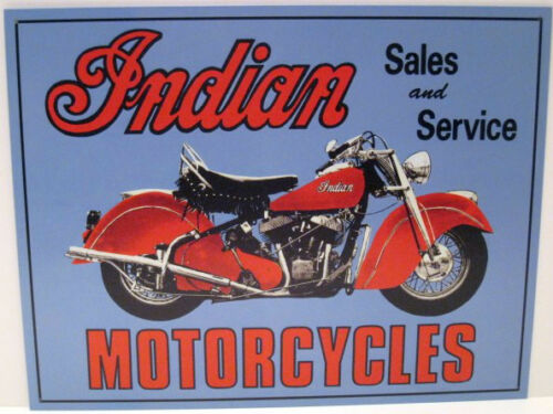 INDIAN  MOTORCYCLE  SALES AND SERVICE METAL SIGN. APO and FPO WELCOME