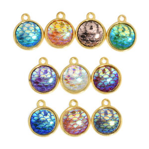 Resin-Mermaid-Fish-Scale-Charms-Pendant-Craft-Jewelry-Necklace-Accessories-10pcs