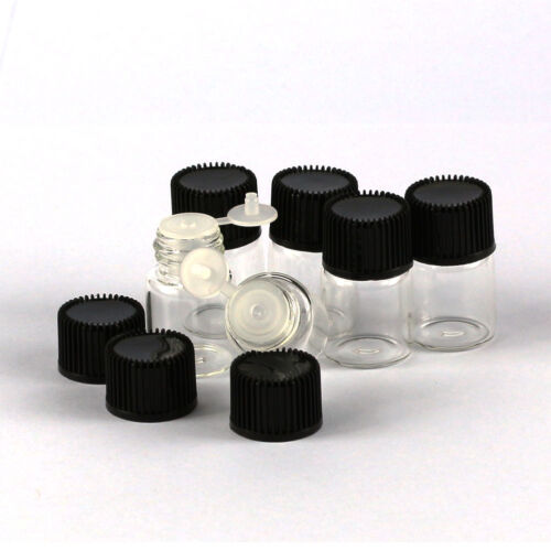 20//50//100Pcs 2ml Tiny Small Glass Empty Oils Bottles Vial With Black Screw Cap