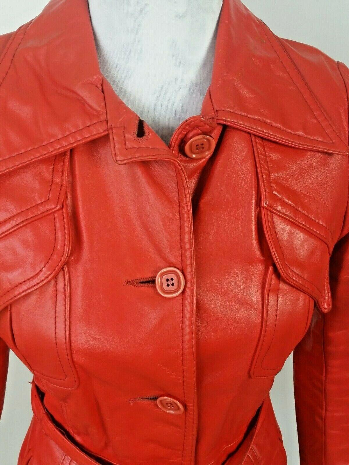 Vintage Orange Leather Womens Jacket Mod 1970s XS - image 2
