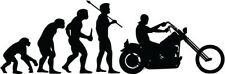 """Motorcycle Evolution Decal Sticker Car Truck Window- 6"""" Wide White Color"""