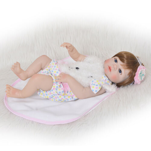 "Waterproof 23/"" Reborn Toddler Baby Dolls Lifelike Girls Doll Full Body Silicone"