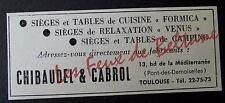 Publicité ancienne CHIBAUDEL CABROL SIEGES TABLES CAMPING  1964