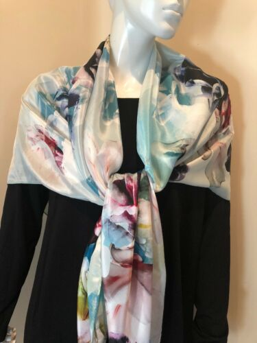 Nordstrom Floral Large Square Silk Blue Multicolored scarf New $99