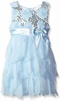 American Princess Sequin Soutache Ruffle Cascade Chiffon Dress Ice Blue 5 5t