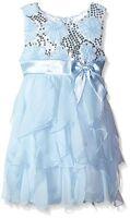 American Princess Sequin Soutache Ruffle Cascade Chiffon Dress Ice Blue 2t 3