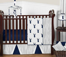 Bumperless Navy Blue Grey Deer Baby Boy Woodland Forest Outdoor Crib Bedding Set