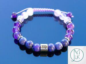 Virgo-Jasper-Amethyst-Birthstone-Bracelet-6-9-039-039-Macrame-Healing-Stone-Chakra