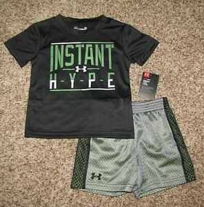 Under Armour NWT 12 24 Months Boy/'s Short Sleeve Top Shorts Outfit HYPE Gray