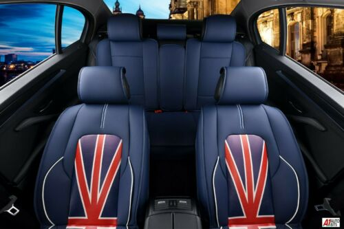 For Land Range Rover Blue PU Leather Luxury Full Set Car Seat Covers Union Jack