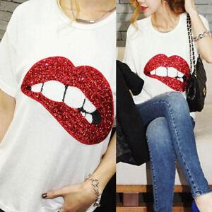 e4a6a9a8bfb7 Fashion Women Sequin Lips Print Cotton T Shirt Short Sleeve Casual ...
